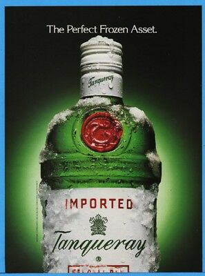 1994 Tanqueray Gin The Perfect Frozen Asset Bottle With Ice Photo Print Ad
