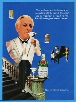1994 Tanqueray Gin Mr Jenkins Piano Bar Martini Tuxedo Photo Feelings Print Ad