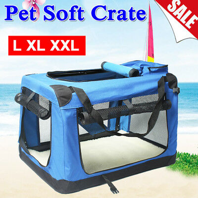 Fabric Soft Pet Crate Cage Carrier House Dog Cat Travel Kennel Foldable Portable