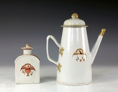 Two Piece Antique Chinese Export Porcelain Coffee Pot Tea Caddy American Market