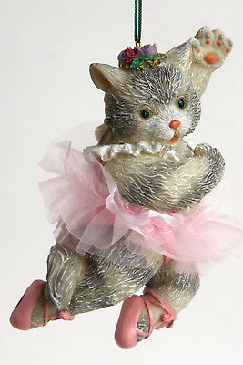 Cat Ballerina Resin Ornament Pink Tutu Ballet Kitten Gray Stripe Xmas Dance Hang