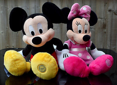 "Genuine Disney Store Original Plush Mickey and Minnie Mouse 15"" Ideal Xmas Gift!"