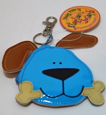 NWT Stephen Joseph Dog with bone Penny Pals Coin Purse blue and brown kids toy