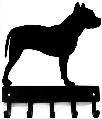 Pit Bull Terrier Dog Leash Hanger Metal  Wall Key Rack Holder 5 Hooks Lg 9 inch