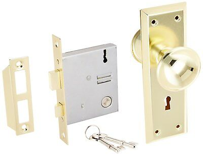 Interior Door Lock Set 2 1/4 Inch Brass Old Time Mortise with Two Skeleton Keys
