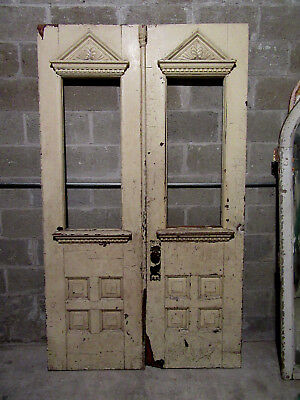 ANTIQUE CARVED OAK DOUBLE ENTRANCE FRENCH DOORS ~ 49 x 84 ~ARCHITECTURAL SALVAGE