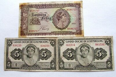 Three 1943 &1944 Luxembourg Notes (20 Frang Allied Occupation, Franc Notes