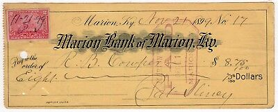 Marion Bank of Marion Kentucky Check 1899 Revenue Stamp $8.75 LOOK!@@!