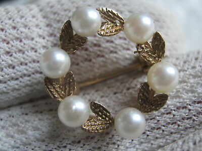 Fully Hallmarked Small 9 Ct Yellow Gold &  Pearl Foliate Ring Brooch