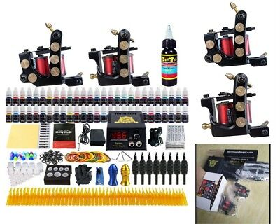 Professional Complete Tattoo Kit 2 Pro Machine 54 Inks Set Needles Power Supply
