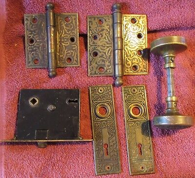 Antique Vintage Eastlake Ceylon Brass Door Knob Set Back Plate Hinges & Lock #4