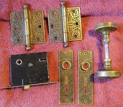 Antique Vintage Eastlake Ceylon Brass Door Knob Set Back Plate Hinges & Lock #3