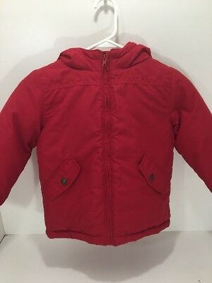 Gymboree Boys Winter Jacket Red Coat Warm Lined Hooded Size XS 3-4 NWT
