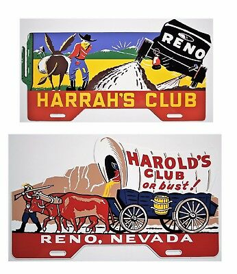 Harold's Club and Harrah's Club License Plate Toppers Nice Reproductions