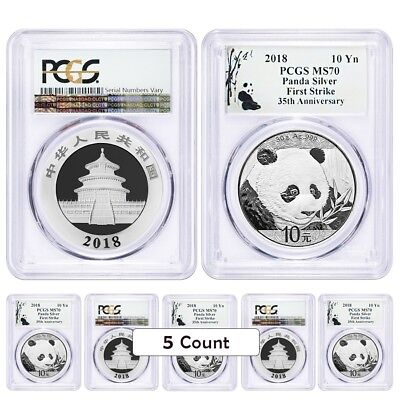 Lot of 5 - 2018 30 gram Chinese Silver Panda 10 Yuan PCGS MS 70 FS (Panda Label)