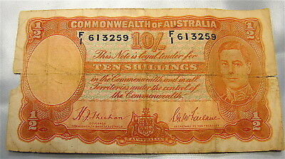 COMMONWEALTH OF AUSTRALIA TEN SHILLINGS NOTE --Ragged--Poor--As Found