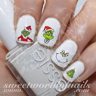 *20 NAIL DECALS* The Grinch Nail Art Nail Water Decals Transfers