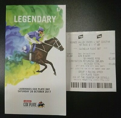 WINX, 2017 Cox Plate Race Book, 2016 Cox Plate Betting Ticket
