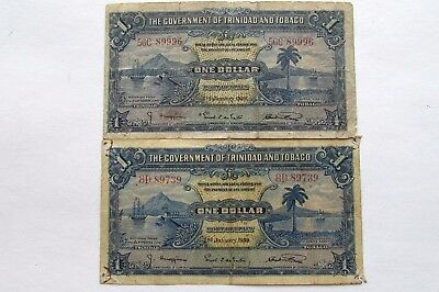 TWO 1939  TRINIDAD AND TOBAGO DOLLAR NOTES   KP#5b