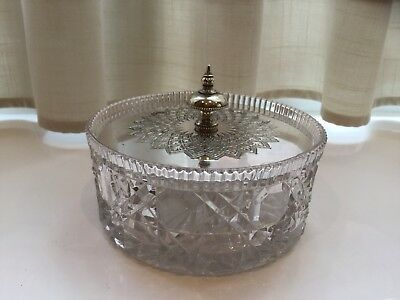 Beautiful Antique Silver Plated And Cut Glass Butter Dish