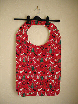 Adult Bibs in a Red Christmas Themed Material