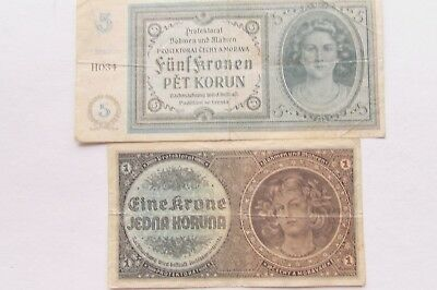 TWO 1940 ISSUE BOHEMIA & MORAVIA  KORUN NOTES  KP #4a, KP #3a.