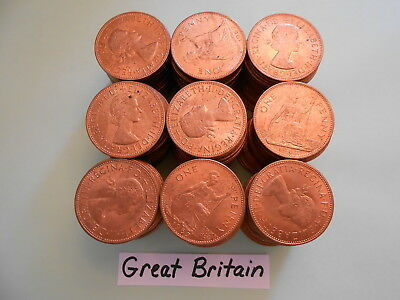 World Coin Lot:  180 UNC 1967 British Large Pennies                       (GB#7)