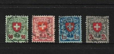 SWITZERLAND 1924 Arms, Cross, Shield, No.3, set of 4, used