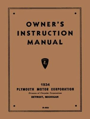 1934 plymouth owners manual 34 owner guide new pe pf pfxx pg rh picclick com Instruction Manual Book Manuals in PDF
