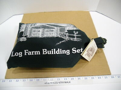 Roy Toy Maine New England Wooden Log Farm Building Set in Bag - NEW