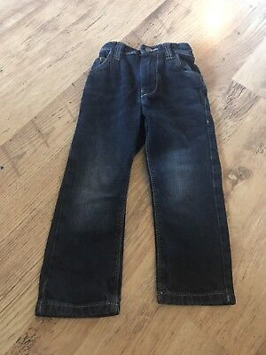 Next Boys Dark Blue Denim Jeans With Adjustable Waist Age 3 Years