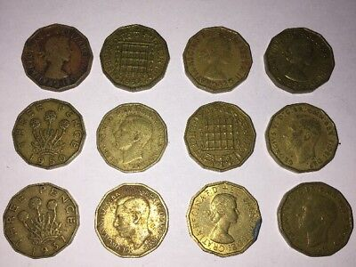 12 UK Threepence 3 Three Pence Coins British English Pre Decimal Coins