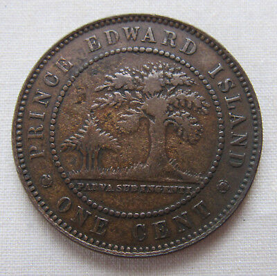 Prince Edward Island 1871 Large One Cent Coin Victoria Queen Canada