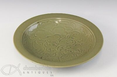 Old Antique Chinese Celadon Glazed Carved Dish Plate