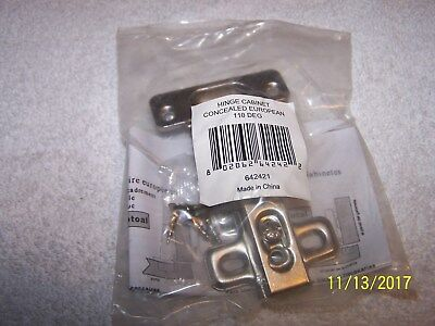 Concealed Euro Cabinet Hinges Self-Closing Frameless - Nickel Finish - Lot of 12
