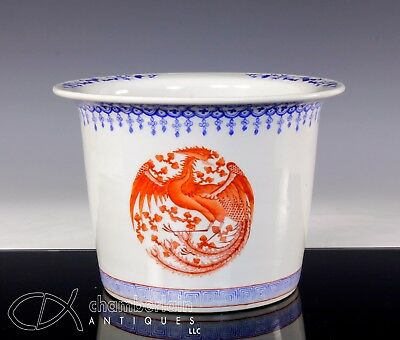Old Chinese Porcelain Planter With Detailed Phoenix