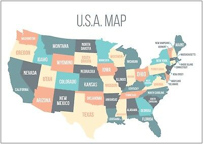 Map of The USA America States Poster Art Large Print A0 A1 A2 A3 A4 Maxi