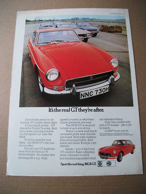 MGB GT - IT'S THE REAL GT - Original magazine CAR ADVERT FROM 1970