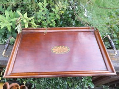 Antique Tray Elegant Quality Mahogany Inlaid Wooden Butlers Tray & Handles