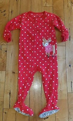 NEW Baby Girl CARTERS Soft Fleece Reindeer Christmas Footed Pajamas Size 24M d004e6d3a