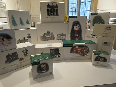 Dept 56 New England Village Large Lot of 4 Buildings & 11 Boxes of Accessories