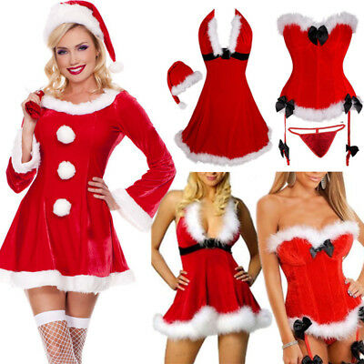 Xmas Womens Santa Costume Corset Outfit Dress For Party Skirt Plus