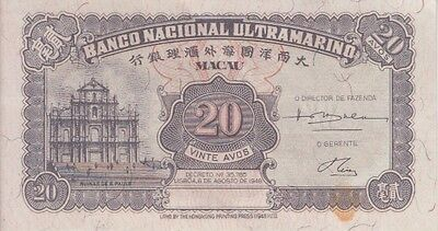 MACAO BANKNOTE BNV P37r 20 AVOS 1946 REMAINDEX, STAIN,  ALMOST UNCIRCULATED