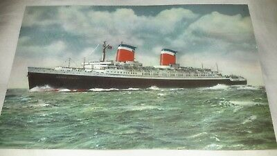 Vintage Old 1950's Photo Postcard Art of the S.S. UNITED STATES Oceanliner ship