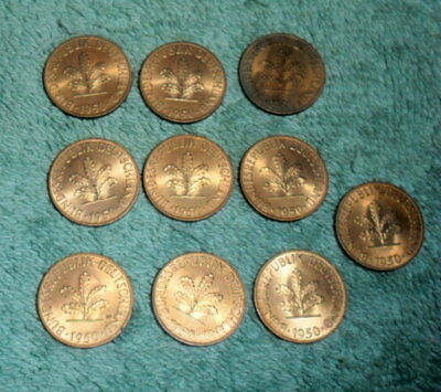 JB RFM 59781 Lot of 10 Germany 1950 F Pfennig UNC Condition.  We are currently s