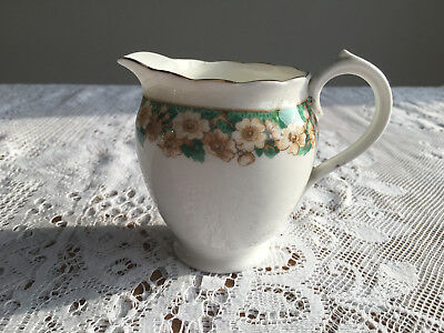 Vintage Roslyn China Milk Jug in Green and White with Daisies