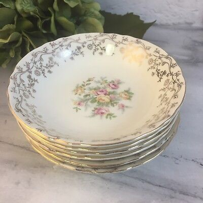 """5.25"""" Berry Bowls (6) Taylor Smith Taylor 3421 USA 22KT Gold Pink Yellow Roses"""