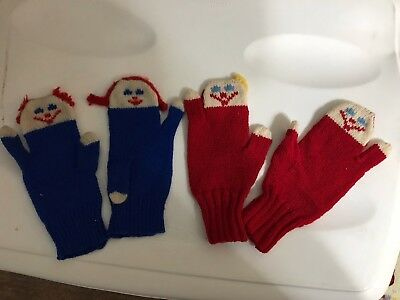 2 pair Vintage HANDMADE WOOL Children's MITTENS  Red Blue Novelty