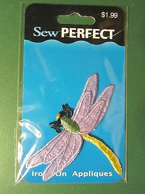 """SEW PERFECT LAVENDER DRAGONFLY IRON-ON APPLIQUE - APPROX 2"""" x 2 3/4"""" NIP"""