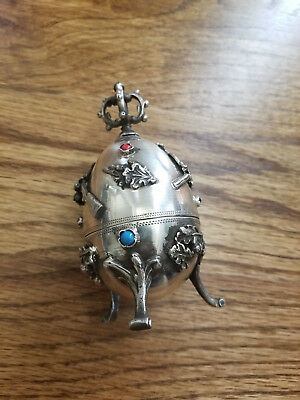 O.C. 1878 Sterling Russian Rabbit Hunting Egg, 84 Silver